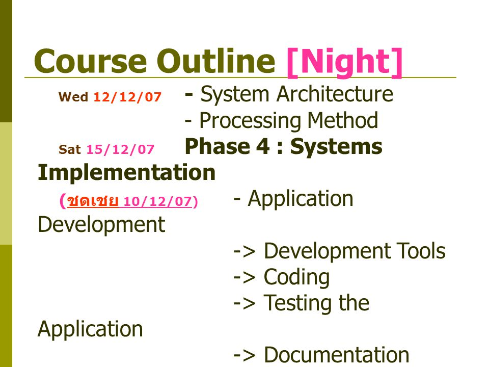 Course Outline [Night]